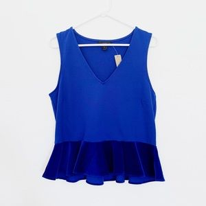 J.Crew Blue Velvet Peplum Top Sleeveless V Neck